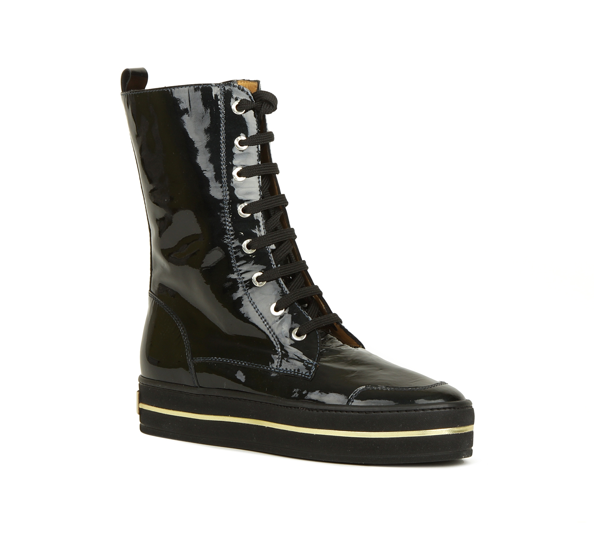 406220cfd Лаковые женские ботинки на высокой шнуровке Giemme F2722. молодежная ...