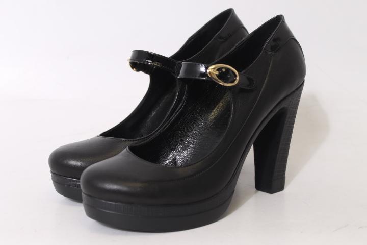 Женские кожаные модные черные туфли SpringWAY УТ000011133 на высоком ... 9251ca8bcb748