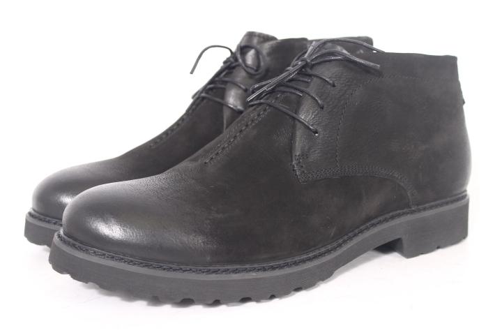 cf42bc713 Мужские зимние ботинки на шнурках из кожи-нубук черные с эффектом ...